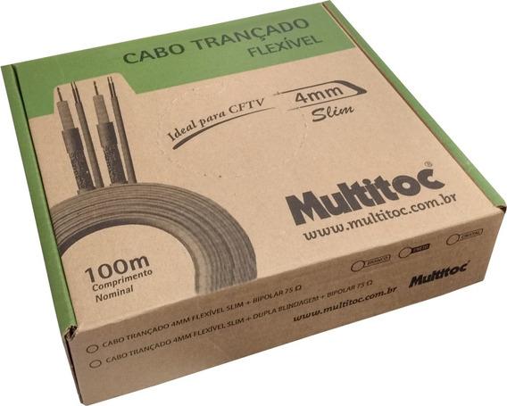 Cabo Para Cftv Slim Coaxial 4mm + Bipolar 100mts Cftv 80%