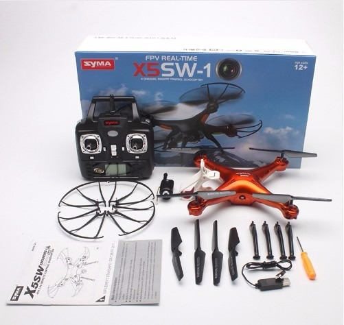 Drone Syma X5sw Câmera Wifi Fpv - 4 Baterias E 2 Motores
