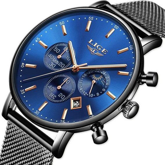Reloj Hombre Lige Clásico, Casual, Ultra Fino,cronograf 9894