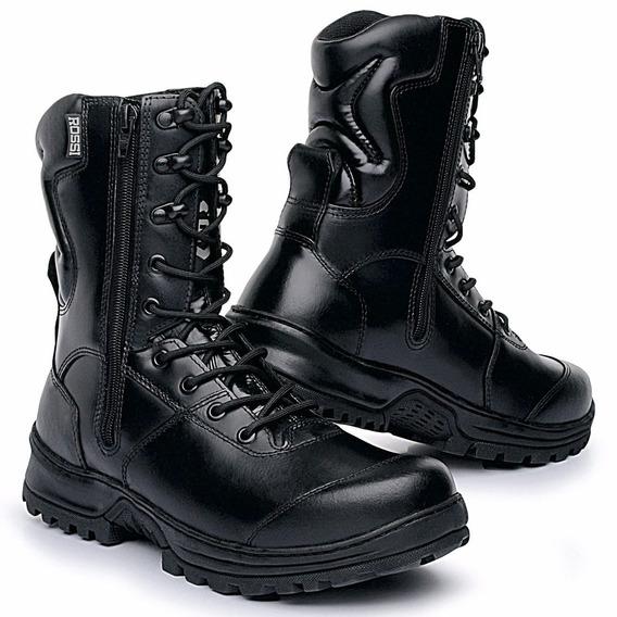 Coturno Militar Masculino Padrao Pm Couro Ziper Palmilha Gel