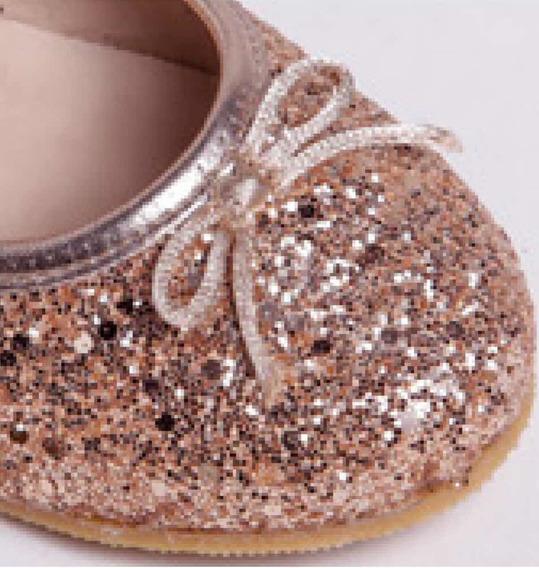 Chatitas Ballerina Glitter Oro Rosado Niña