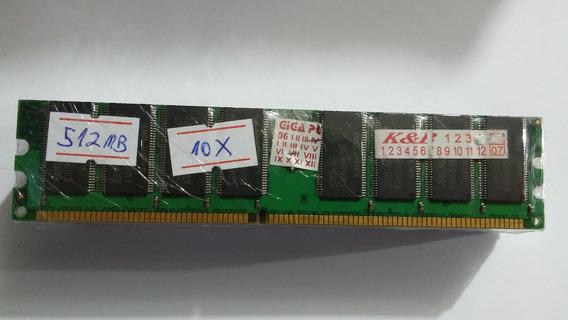 Lote 10 Memórias Desktop Pc Chip 512mb Ddr 400mhz #127