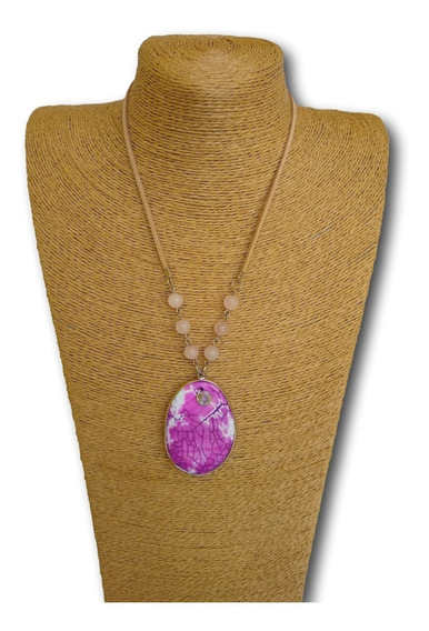 Colar De Pedra Ágata Com Quartzo Rosa Ref. 0060