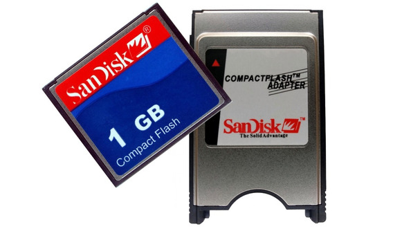 Combo Cartão Compact Flash 1gb + Adaptador Cf X Pcmcia + Nfe