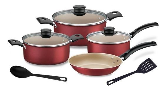 Batería De Cocina Antiadherente Tramontina Turim 6 Piezas Rojo