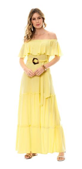 Vestido Bisô Longo Ciganinha Amarelo