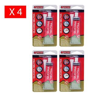 Pack X 4 Silicona Neutra Tacsa 85ml Transparente Universal