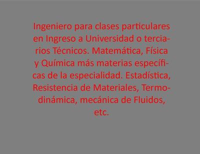 Ingeniero Para Clases Particulares En Ingreso A Universidad