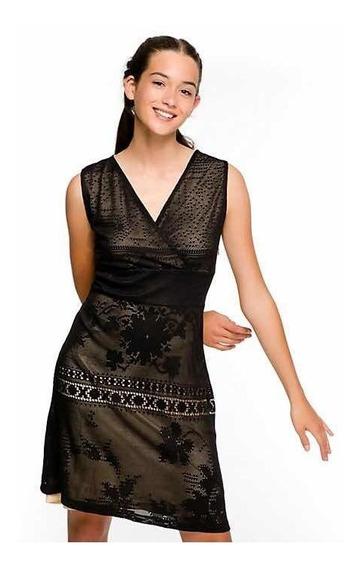 Desigual Vestido Tipo Encaje Negro M Nuevo Con Envío