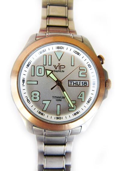 Relógio Vip Saphilife Titanium Pulseira De Metal Masculino