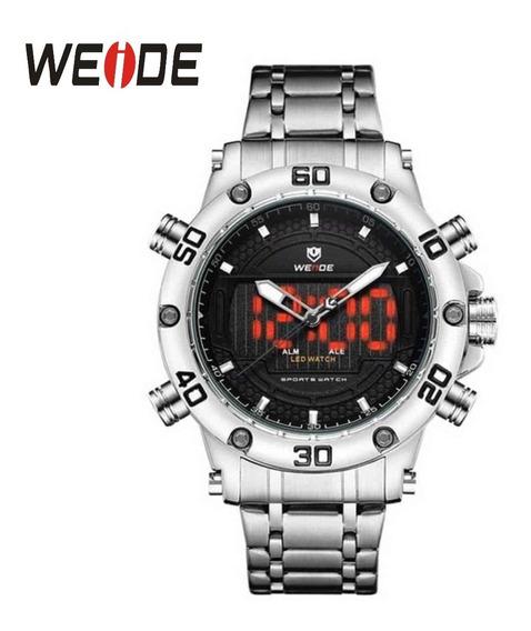 Relógio De Aço Original Weide Wh6910 Analógico E Digital