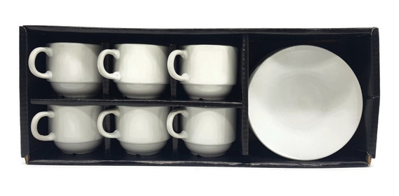 Juego Set X 6 Tazas + Platos De Porcelana Para Café Oferta