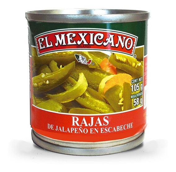 Chiles Jalapeños Rajas Verdes El Mexicano 105 Grs.