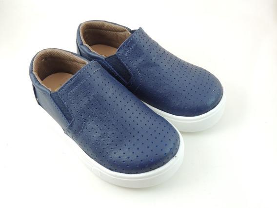 Sapato Tênis Infantil P/ Meninos Casual Em Couro Confortável