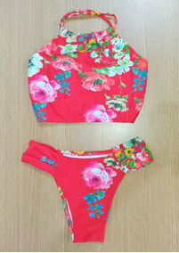 Kit 3 Biquini Cropped Panicat Feminino Moda Praia Verão 2019