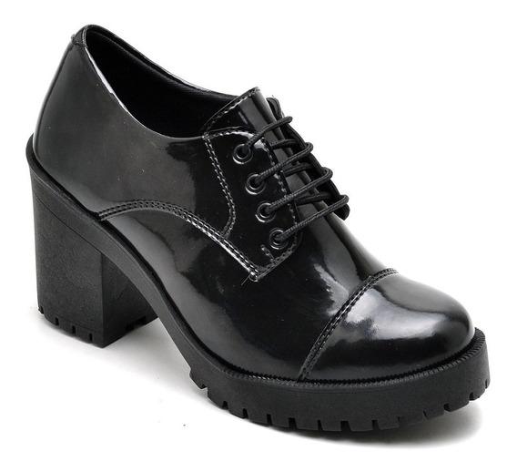 Sapato Oxford Salto Grosso Tratorado Verniz Promoção