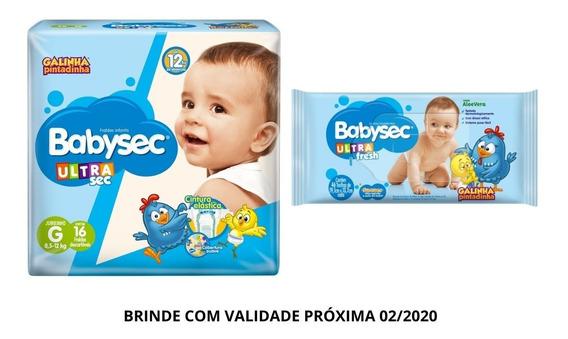 Fralda Babysec Ultrasec G16un Brinde Toalha Umedecida Softys