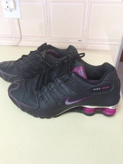 Nike Shox Em Couro Original Tam 38 Us 8.5