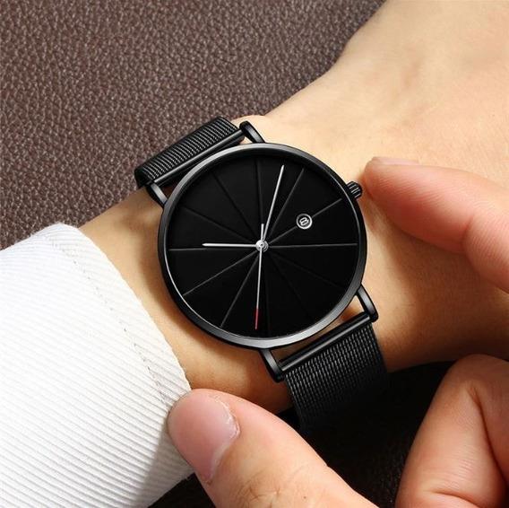 Reloj Con Fechador Para Hombre Elegante Correa Metalica