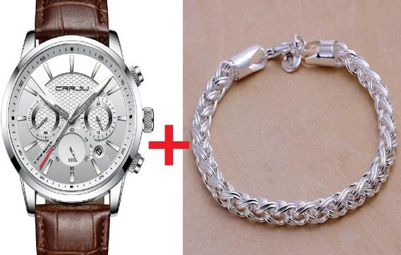 Relógio Original Cronografo+pulseira Grátis Brinde Promoção