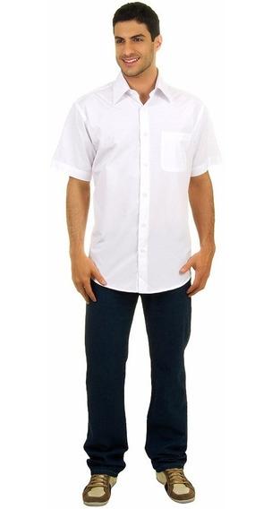 Camisa Social Masculina Manga Curta Branca Uniforme