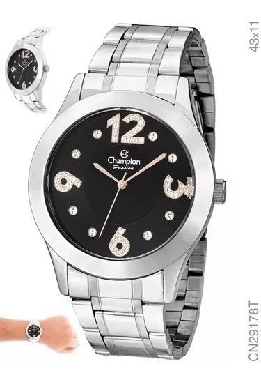 Relógio Feminino Prata Fundo Preto Champion Grande Cn29178t