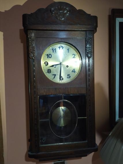 Reloj De Pared Antiguo Junghans 2 Cuerdas Y Pendulo