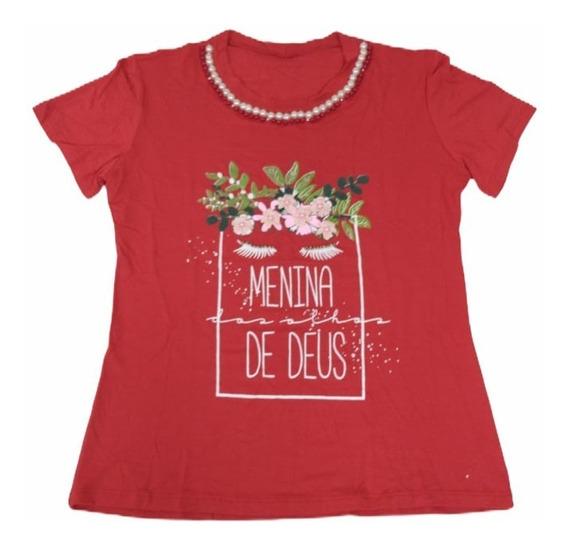 Camisetas T-shirt Blusinhas Femininas Bordadas Pérolas
