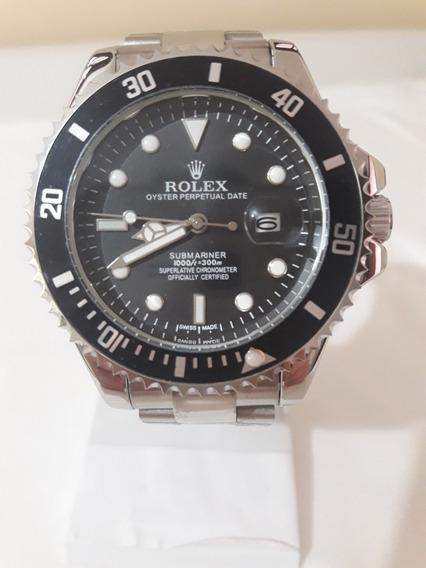 Relógio Masculino Submariner Prata Mostrador Preto - 45mm