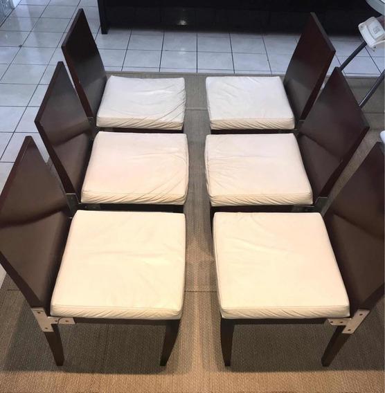 6 Cadeiras De Madeira Cor Com Assento De Courino Beje