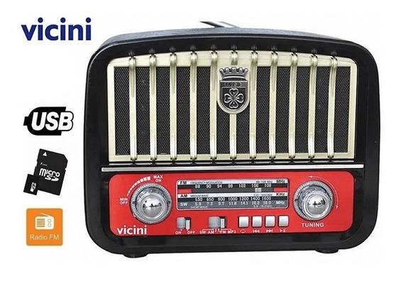 Rádio Caixa De Som Retro Am Fm Usb Cartão Sd Portá