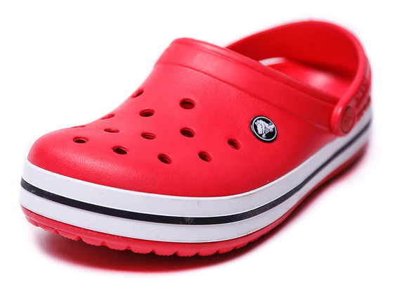 Zueco Crocs Crocband Rojo Y Blanco