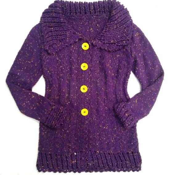 Casaco Blusa De Tricot Lã Feminino - Feito A Mão