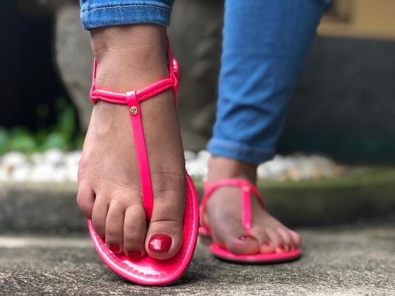 Rasteirinha Feminina Básica Rosa Neon Rasteira Verão