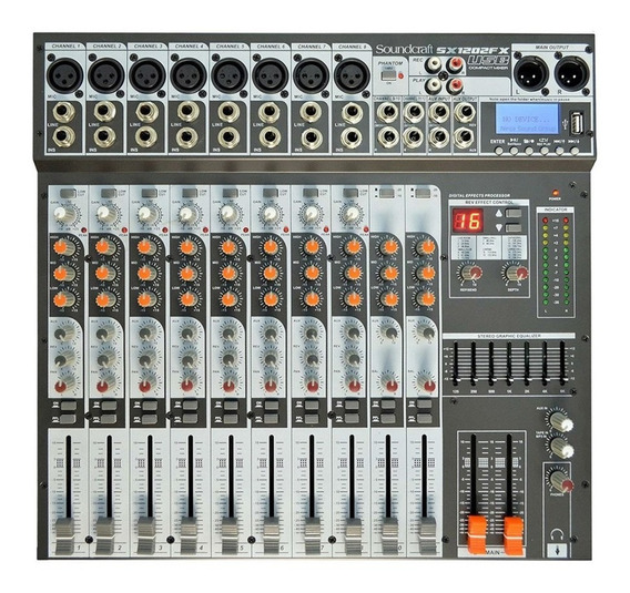 Mesa De Som 12 Canais Mixer Sx-1202 Fx Usb Soundcraft