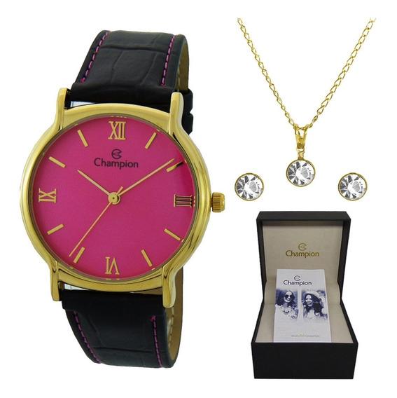 Kit Relógio Champion Feminino Dourado Ch22206l Original