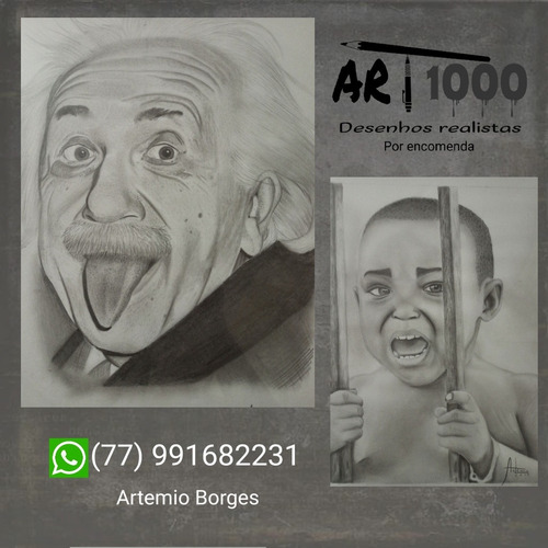 Imagem 1 de 1 de Desenhos Realistas Por Encomenda (tamanhos A4, A3 E A2)