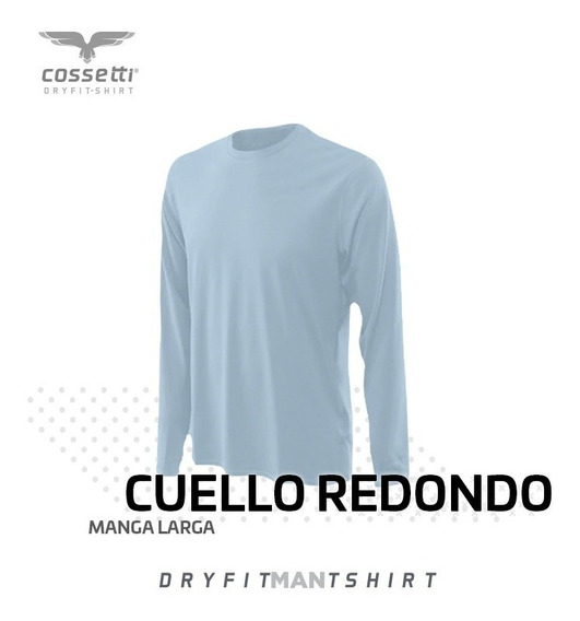 Playera Cuello Redondo Cossetti Manga Larga Dry Fit Xl,2xl