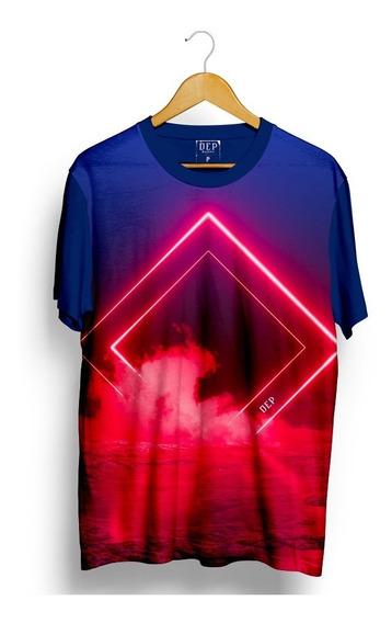 Camiseta Dep Vermelho Neon Azul Marinho