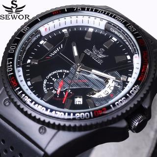 Reloj Hombre Marca De Lujo Sewor Rattrapante Reloj De Pulsera Mecánico Automático Deportes Hombre. Correa Goma Aviador.