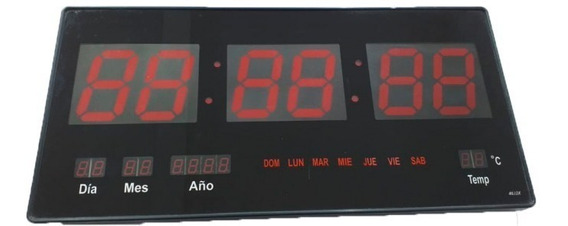 Reloj Digital Jumbo Led 46cm Rojo Pared Mem Micro 16 Gratis