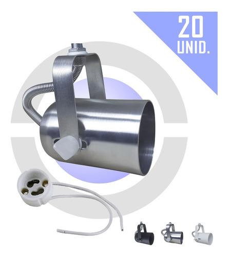 Imagem 1 de 7 de Spot Dicroica Para Trilho Perfilado Eletrocalha 20 Unid.