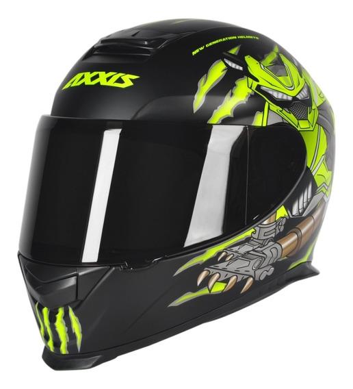 Capacete Motociclista Axxis Mt Animals Preto Fosco/amarelo