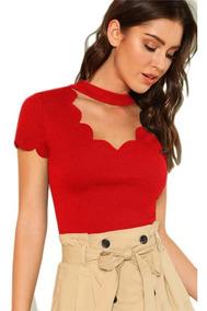 Camisa Blusa Elegante Casual Manga Corta Roja Moda 2019
