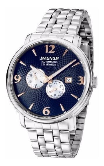 Relógio Magnum Masculino Automatico Ma33960a Azul Aço Prata