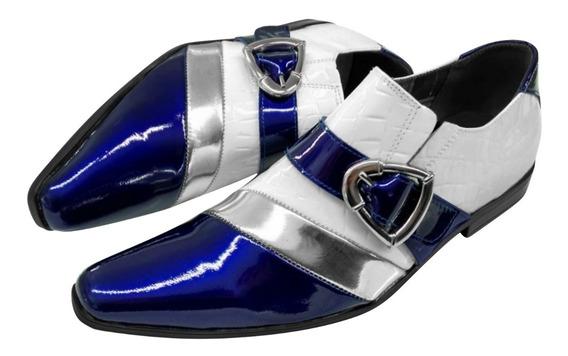 Sapato Masculino Em Couro Branco C/ Azul Verniz Ref: 500