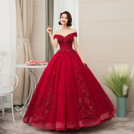 Vestido Quinceañera Barato Bonito Hermoso Bordado Rojo Rosa