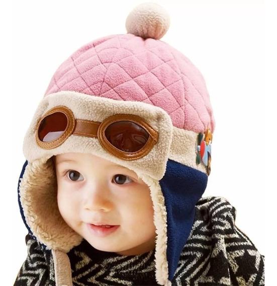 Touca Aviador Piloto Bebê Infantil Forrada Lã Antialérgica