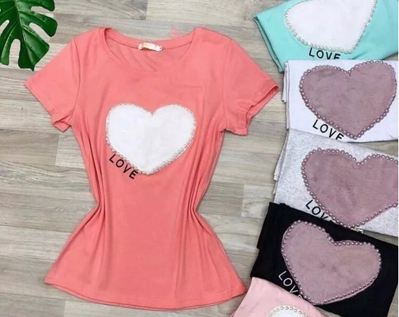 Blusa T-shirt Feminina Estampa Pérola Lançamento Importado