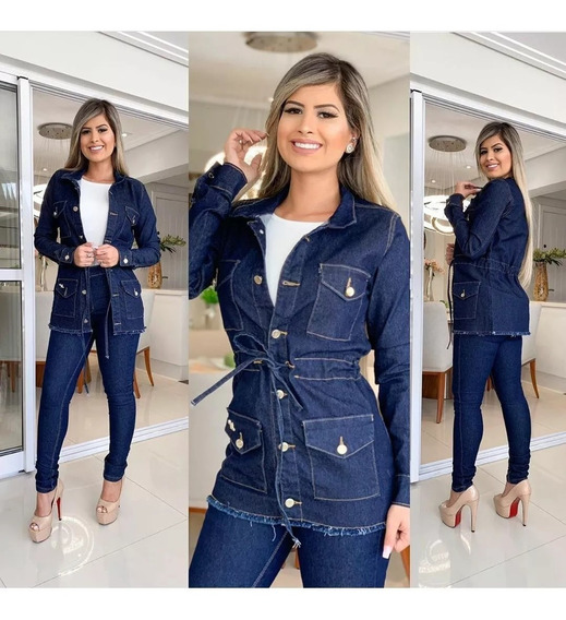 Parka Jaqueta Max Casaco Sobretudo Jeans Feminina Stresh
